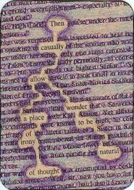Altered Text ATC Swap #6----Purple