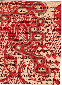 Altered Text ATC Swap #7----RED