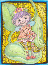 Hand draw/painted Garden Fairy with fairy profile
