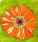 ATC Flower Series #16:  Zinnias