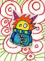 Monsters in Ugly Holiday Sweaters ATC