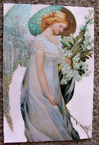 Recycle Christmas cards as postcards #2 - Angel