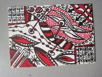 Black and Red Zentangled ATCs