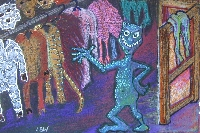 Tim-Burton-esque Cartoon Character Postcard
