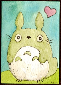 Totoro ATC - Hand Drawn or Painted