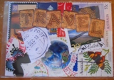 Postage Stamps Collage ATC - MAKEUP
