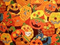 Sew What's in a Name - May Orange Halloween Fabric