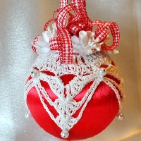Handmade Christmas Ornament for July - Red