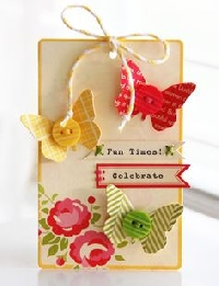 ATC: Butterfly, Button + Book Page  US ONLY