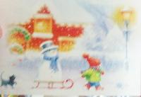 Christmas card as postcard #27 -sled