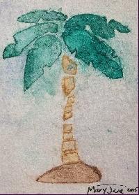AI: Stenciled Watercolor + Salt ATC