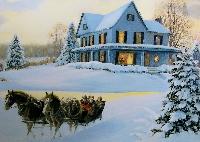Christmas card as postcard #18 -horse sleigh