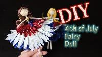 Red, White, Blue fairy doll or mermaid USA
