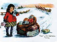 Christmas Postcard with an outdoor Chirstmas Scene