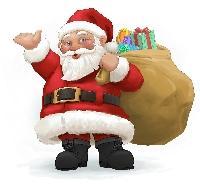 Recycled Christmas Card Postcard #2-Santa