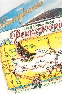 U.S. State Map Postcard + Views #1