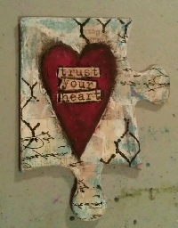 VC: Altered Puzzle Piece Valentine Ornament