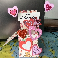 Handmade Valentine pop-up Card USA