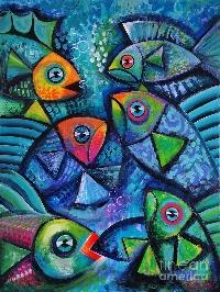 5x7 whimsical fish acrylic painting