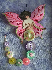 Spring Button Fairy Doll