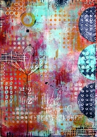 CC: gel press collage artwork 5 x7 USA