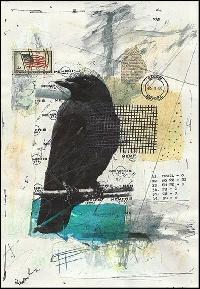 AACG: Mixed Media Raven ATC