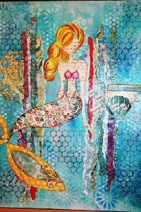 GAA: Mixed Media Mermaid Gothic Arch ATC