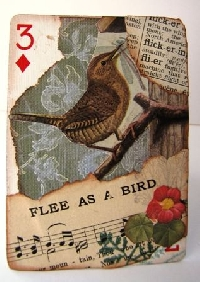 MFF:  Altered Playing Card (APC) with a Bird
