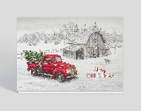 Christmas Card -Holiday Red pick up truck-USA
