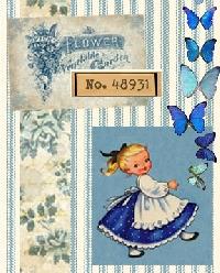 VJP:  Blue Butterflies 4x6 Art Journal Page