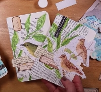 YTPC: 2 Painted Journal Cards with Birds