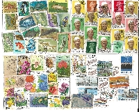 Used Postage Stamps on a Card