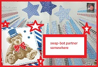 Decorated envelope red, white and blue-open design